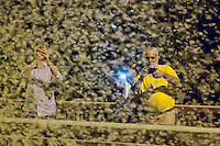 People photograph the swarming of the mayfly (Ephoron virgo) that returned to river Danube after four decades of absence in Tahitotfalu (some 32 km north from the capital city Budapest), Hungary on August 24, 2013. ATTILA VOLGYI