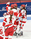 Jenelle Kohanchuk (BU - 19), Kayla Tutino (BU - 8), Rebecca Russo (BU - 18) - The Boston University Terriers defeated the visiting Union College Dutchwomen 6-2 on Saturday, December 13, 2012, at Walter Brown Arena in Boston, Massachusetts.