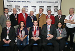 15 January 2009: 2009 National Soccer Hall of Fame player electees Joy Fawcett (front row, 2nd from left) and Jeff Agoos (front row, center) pose with a group of Hall of Famers present at the press conference. The election announcement press conference was held at the Convention Center in St. Louis, Missouri in conjuction with the National Soccer Coaches Association of America's annual convention.