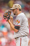 27 May 2013: Baltimore Orioles starting pitcher Jason Hammel on the mound against the Washington Nationals at Nationals Park in Washington, DC. The Orioles defeated the Nationals 6-2, taking the Memorial Day, first game of their interleague series. Mandatory Credit: Ed Wolfstein Photo *** RAW (NEF) Image File Available ***