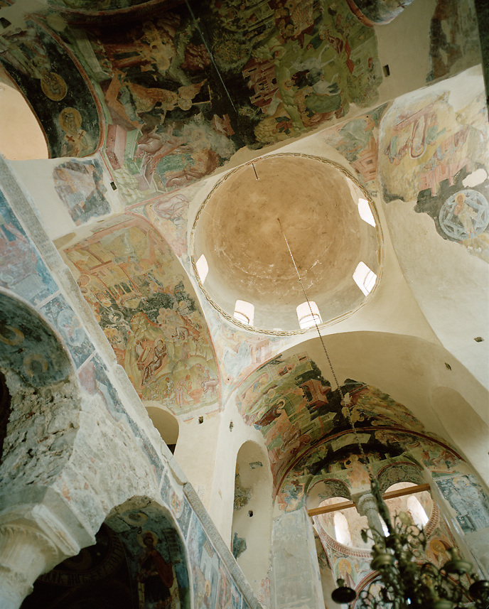 Byzantine church interior at Mystras, Greece