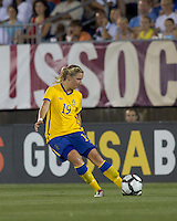 Sweden midfielder Louise Fors (19). The US Women's national team beat Sweden, 3-0, at Rentschler Field on July 17, 2010.