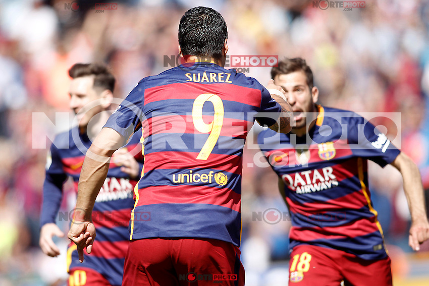 FC Barcelona's Leo Messi, Luis Suarez and Jordi Alba celebrate goal during La Liga match. May 14,2016. (ALTERPHOTOS/Acero) /NortePhoto.com