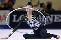October 20, 2001; Madrid, Spain:  ANNA BESSONOVA of Ukraine finishes performing with hoop at 2001 World Championships at Madrid.
