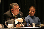 """17 January 2004: Boston Breakers general manager Joe Cummings (left) and goalkeeper Tracy Ducar (right) during a panel discussion titled """"Can Women's Professional Soccer Survive in America"""" at the Charlotte Convention Center in Charlotte, NC as part of the annual National Soccer Coaches Association of America convention.."""