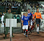 Rangers v Energie Cottbus 18.1.2003, Dubai al sahbab stadium: Barry Ferguson leads out the Rangers team in Dubai