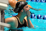 24 MAR 2012: Brittany Geyer of Stevens looks up at the scoreboard after winning the 200 yard breaststroke during the Division III Mens and Womens Swimming and Diving Championship held at the IU Natatorium in Indianapolis, IN. Geyer won with a time of 2:15.55.  Michael Hickey/NCAA Photos