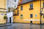 Street corner in old town Gradec, Zagreb, Croatia
