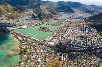 An aerial view of Hawai'i Kai that includes Haha'ione Valley, Koko Marina and Kuapa Pond, Honolulu, O'ahu.