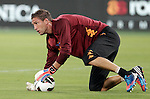 Calcio, Serie A: Roma-Catania. Roma, stadio Olimpico, 26 agosto 2012..AS Roma goalkeeper Maarten Stekelenburg, of the Netherlands, warms up prior to the start of the Italian Serie A football match between AS Roma and Catania, at Rome, Olympic stadium, 26 August 2012. .UPDATE IMAGES PRESS/Riccardo De Luca