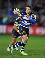 Dan Bowden of Bath Rugby receives the ball. Aviva Premiership match, between Bath Rugby and Gloucester Rugby on February 5, 2016 at the Recreation Ground in Bath, England. Photo by: Patrick Khachfe / Onside Images