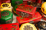 Antique painted wooden jewelry boxes at a market in China