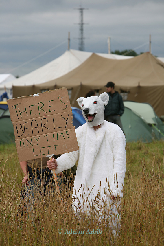 Climate change protesters at Climate Camp, Heathrow.  2,000 protesters gathered at an impromptu camp set up to protest against the UK's airport expansion program.