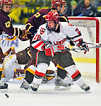 2 January 2009: St. Lawrence Saints' forward Travis Vermeulen, a Junior from Centerville, MN, in action against the Ferris State Bulldogs in the first game of the 2009 Catamount Cup Ice Hockey Tournament hosted by the University of Vermont at Gutterson Fieldhouse in Burlington, Vermont. The Saints defeated the Bulldogs 5-4 to move onto the championship game against the University of Vermont Catamounts...Mandatory Photo Credit: Ed Wolfstein Photo