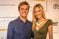 Turtle Bay Resort, North Shore, Oahu, Hawaii. (Tuesday December 6, 2016): Julian Wilson (AUS) with girlfriend Ashley Osborne (AUS). The annual Surfer Poll Awards were held tonight at the Turtle Bay Resort with the new world champion John John Florence (HAW) taking out the #1 spot on the Men's Reader Poll and Carissa Moore (HAW) #1 on the women's poll. Photo: joliphotos