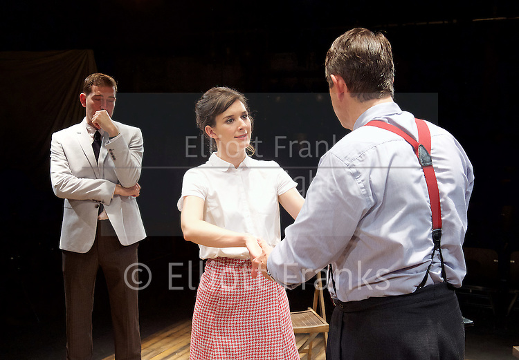 Orson&rsquo;s Shadow by Austin Pendleton<br /> at Southwark Playhouse, London, Great Britain <br /> press photocall <br /> 1st July 2015 <br /> <br /> <br /> Adrian Lukis as Laurence Olivier<br /> Edward Bennett as Kenneth Tynan<br /> Louise Ford as Joan Plowright<br /> <br /> Photograph by Elliott Franks <br /> Image licensed to Elliott Franks Photography Services