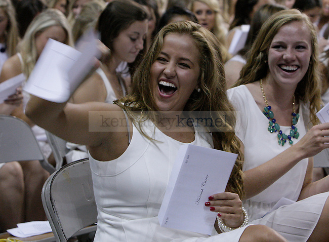 Freshman Hannah Carter reacted to getting a bid for Alpha Phi at sorority bid day in Lexington, Ky., on Thursday, August 22, 2013. Photo by Tessa Lighty | Staff