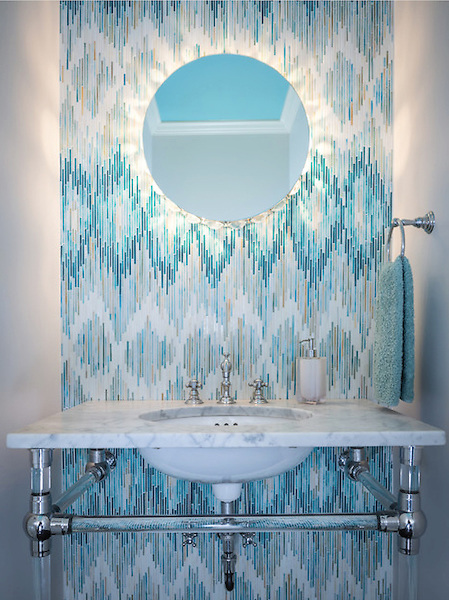 This custom mosaic backsplash features Loom, a handmade mosaic shown in Quartz, Aquamarine, Tanzanite and Turquoise, from the Ikat Collection by Sara Baldwin for New Ravenna.<br /> <br /> For pricing samples and design help, click here: http://www.newravenna.com/showrooms/
