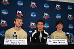 13 December 2007: Wake Forest's Pat Phelan (l), Julian Valentin, and Sam Cronin (r). The Wake Forest University Demon Deacons held a press conference at SAS Stadium in Cary, North Carolina one day before playing in a NCAA Division I Mens College Cup semifinal game.