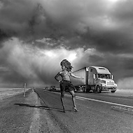 Hitchhiking in the Bonneville Salt Flats