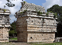 The Church, one-storey building with a vaulted ceiling, with a mask of the god of the rain, Chaac in the centre of the façade and at the two corners, rear side, 800-900 AD, Puuc architecture, Chichen Itza, Yucatan, Mexico. Picture by Manuel Cohen