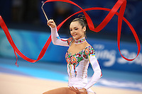 August 23, 2008; Beijing, China; Rhythmic gymnast Anna Bessonova of Ukraine expresses with ribbon on way to winning bronze in the All-Around final at 2008 Beijing Olympics..(©) Copyright 2008 Tom Theobald