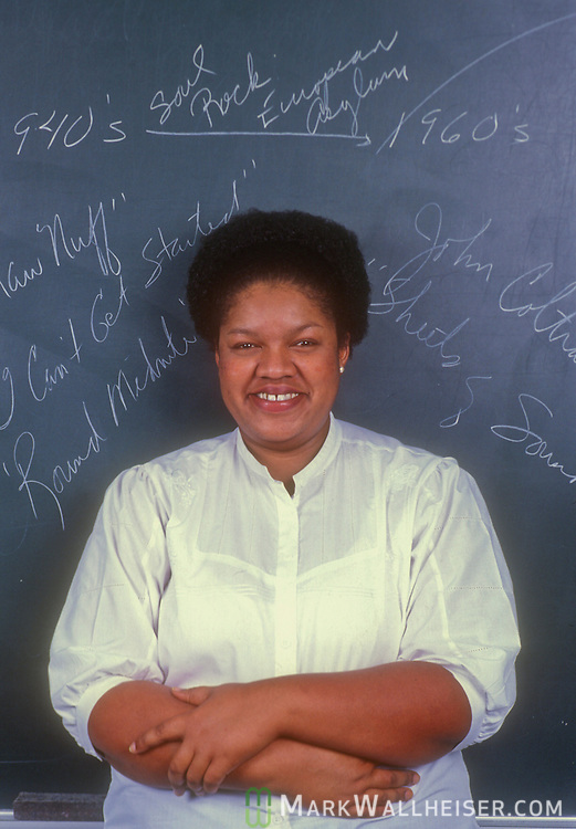 Historic photo of Pam Laws in her classroom at Tallahassee Community College on Novembewr 6, 1984.