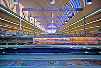 Huge, American, Food, Produce, Super, Market, Shelves, Stacked, Display