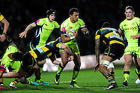 Denny Solomona of Sale Sharks in possession. Aviva Premiership match, between Northampton Saints and Sale Sharks on December 23, 2016 at Franklin's Gardens in Northampton, England. Photo by: Patrick Khachfe / JMP