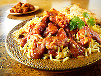 Chicken Madras with Pilau rice & naan bread   Indian food stock pictures, photos fotos & image