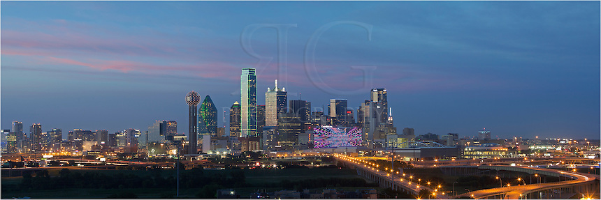 From southwest of downtown Dallas, this Dallas Skyline image was created by merging several pictures to create a Dallas Skyline Panorama.  On the left of downtown stands the iconic Reunion Tower. Reunion Tower, which holds the 5th tallest observatory in the United States...In the middle of the image, outlined is green, is the tallest building in Dallas, the 72-story Bank of America Plaza. The Bank of America is the 22nd tallest building in the US and the 3rd tallest in Texas (at the time of this posting).<br />