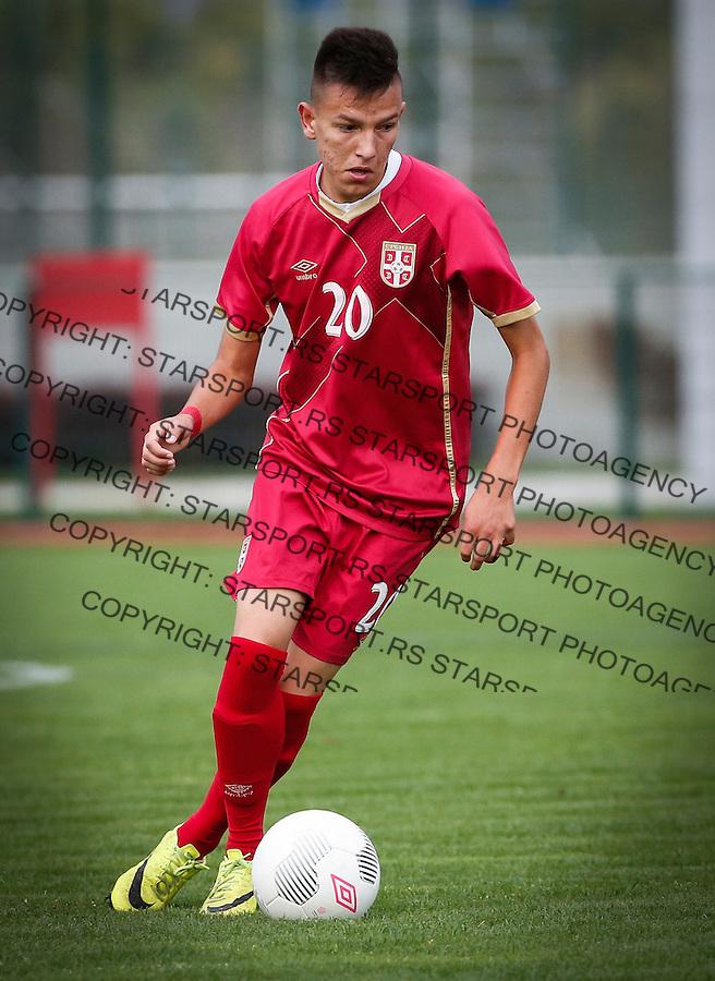 Fudbal Soccer<br /> International Friendly-Prijateljski mec<br /> Srbija U17 v Belorusiaj U17<br /> Mihajlo Neskovic<br /> Stara Pazova, 20.09.2016<br /> foto: Srdjan Stevanovic/Starsportphoto &copy;
