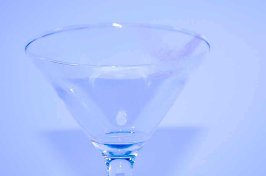 Martini glass with lipstick marks