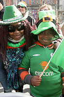 17/03/2011.Joyce & Casey (7) Ani both from Tallaght.during the St. Patrick's Day festival in Dublin's City Centre..Photo: Gareth Chaney Collins