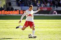 Carlos Mendes (44) of the New York Red Bulls during the 1st leg of the Major League Soccer (MLS) Western Conference Semifinals against the Los Angeles Galaxy at Red Bull Arena in Harrison, NJ, on October 30, 2011.