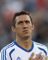 Montreal Impact forward Davy Arnaud (22). In a Major League Soccer (MLS) match, Montreal Impact defeated the New England Revolution, 1-0, at Gillette Stadium on August 12, 2012.