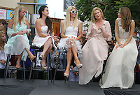 "Kim Richards, Kyle Richards, Paris Hilton, Kathy Hilton, Maria Menounos.Gabriel Mann And Kathy And Paris Hilton Fashion Show On ""Extra"" Held at The Grove, West Hollywood, California, USA..May 2nd, 2012.full length white sheer beige pink sunglasses shades mother mom mum daughter family dress blue profile .CAP/ADM/KB.©Kevan Brooks/AdMedia/Capital Pictures."