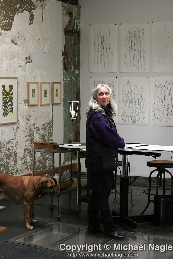 NEW YORK:  FEBRUARY 26, 2005:  Artist Florence Neal in her Red Hook studio above the Kentler International Drawing Space on Saturday, February 26, 2005 in Brooklyn.  (PHOTOGRAPH BY MICHAEL NAGLE)