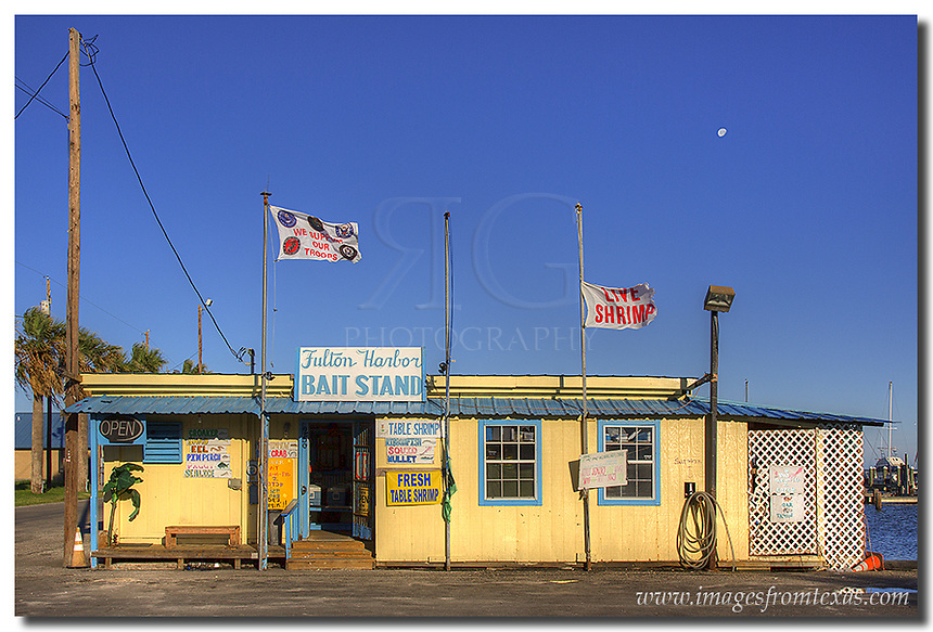 Next to the harbor at Rockport, this colorful joing stands - the Fulton Harbor Bait Stand. I don't think a collection of Rockport images (and Texas Coast pictures for that matter) would be complete without this shot. They sell live shrimp, too!