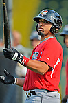 19 July 2012: Tri-City ValleyCats catcher Jobduan Morales awaits his turn in the batting cage prior to a game against the Vermont Lake Monsters at Centennial Field in Burlington, Vermont. The ValleyCats defeated the Lake Monsters 6-3 in NY Penn League action. Mandatory Credit: Ed Wolfstein Photo