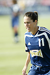 19 June 2004: Julie Foudy. The Washington Freedom tied the Boston Breakers 3-3 at the National Sports Center in Blaine, MN in Womens United Soccer Association soccer game featuring guest players from other teams.