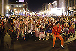 Michael Jackson impersonator Albert Ignacio and more than 1000 zombies do the thriller dance during the Thriller Zombie parade, Sunday, Oct. 30, 2011. Photo by Brandon Goodwin | Staff.