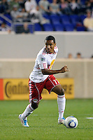 Juan Agudelo (17) of the New York Red Bulls. The New York Red Bulls defeated the Portland Timbers 2-0 during a Major League Soccer (MLS) match at Red Bull Arena in Harrison, NJ, on September 24, 2011.