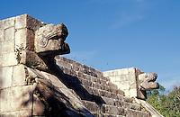 Serpent heads on the Venus Platform at the Maya ruins of Chichen Itza, Yucatan, Mexico