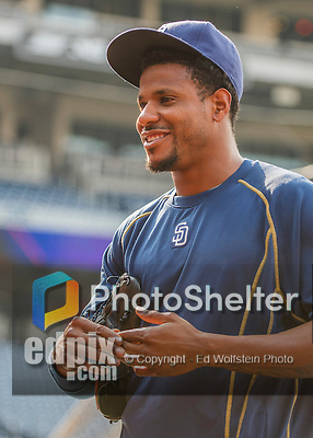 22 July 2016: San Diego Padres pitcher Edwin Jackson chats with former Washington Nationals teammates prior to a game at Nationals Park in Washington, DC. The Padres defeated the Nationals 5-3 to take the first game of their 3-game, weekend series. Mandatory Credit: Ed Wolfstein Photo *** RAW (NEF) Image File Available ***