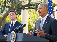 United States President Barack Obama and Prime Minister Matteo Renzi of Italy hold a joint press conference in the Rose Garden of the the White House in Washington, DC on Tuesday, October 18, 2016. <br /> Credit: Ron Sachs / CNP /MediaPunch