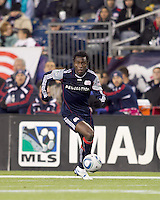 New England Revolution midfielder Kenny Mansally (7) on the attack. The New England Revolution defeated Kansas City Wizards, 1-0, at Gillette Stadium on October 16, 2010.