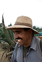 Jose Luis Gonzalez Losada, 47, a field worker at the Del Razo ranch. The Del Razo family have discovered a way to can pulque without it exploding, this allows them to export to the US and Germany. Pulque route, Nanacamilpa Tlaxcala, Mexico June 5, 2007