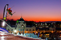 Colby West from United States of America performs his trick during the freestyle skiing competition held on the 35 meters high artificial ski jumping ramp on the Monster Energy Fridge Festival in central Budapest, Hungary on November 12, 2011. ATTILA VOLGYI