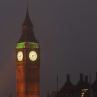 Big Ben in the mist at night, 1858, clock tower of Palace of Westminster or Houses of Parliament, London, UK, 1840-60, by Sir Charles Barry and Augustus Pugin. The 96.3 metre high clock tower is named after its largest bell, Big Ben. Picture by Manuel Cohen
